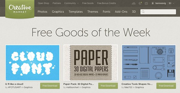 free design resources from Creative Market