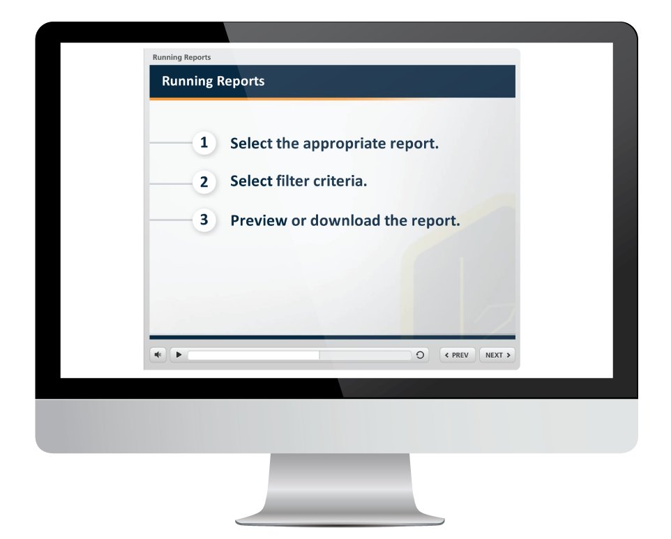 reports in learning portal